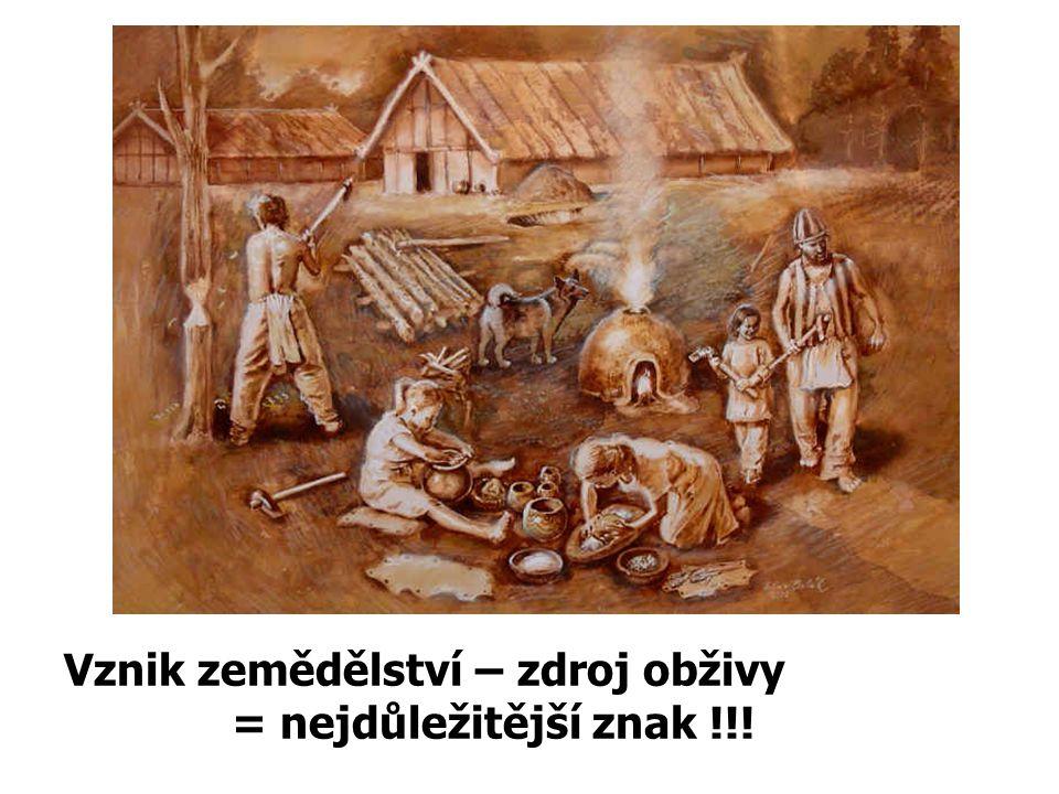 Vznik zemědělství – zdroj obživy = nejdůležitější znak !!!