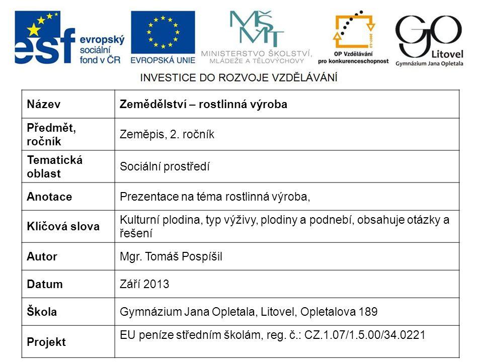 NázevZemědělství – rostlinná výroba Předmět, ročník Zeměpis, 2.