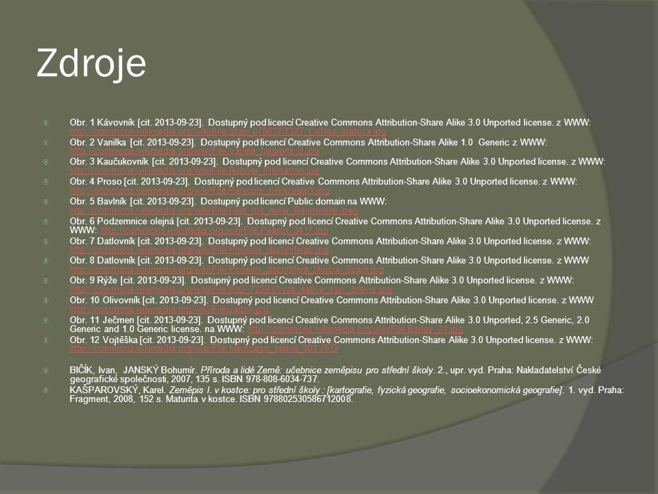 Zdroje  Obr.1 Kávovník [cit. 2013-09-23].