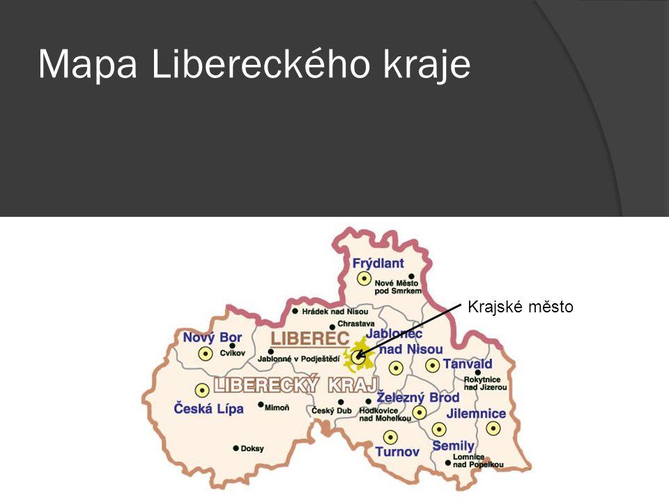 Mapa Libereckého kraje Krajské město