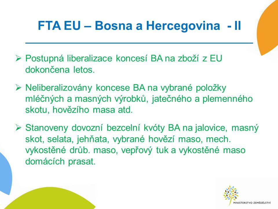 FTA EU – Bosna a Hercegovina - II  Postupná liberalizace koncesí BA na zboží z EU dokončena letos.