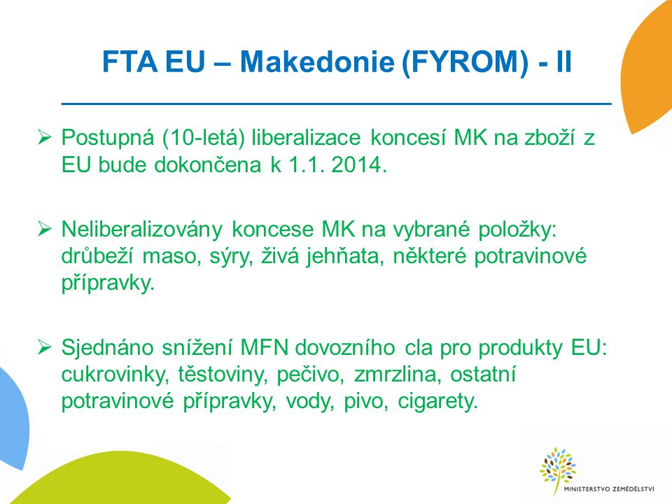 FTA EU – Makedonie (FYROM) - II  Postupná (10-letá) liberalizace koncesí MK na zboží z EU bude dokončena k 1.1.