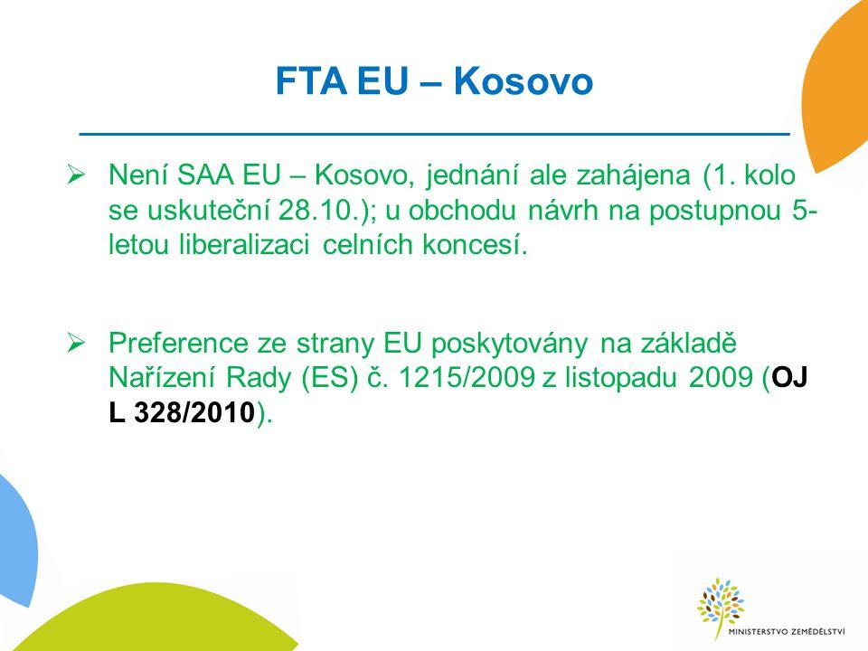 FTA EU – Kosovo  Není SAA EU – Kosovo, jednání ale zahájena (1.
