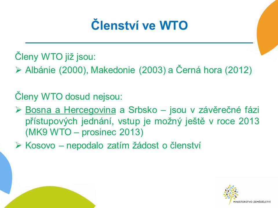 Členství ve WTO Členy WTO již jsou:  Albánie (2000), Makedonie (2003) a Černá hora (2012) Členy WTO dosud nejsou:  Bosna a Hercegovina a Srbsko – jsou v závěrečné fázi přístupových jednání, vstup je možný ještě v roce 2013 (MK9 WTO – prosinec 2013)  Kosovo – nepodalo zatím žádost o členství