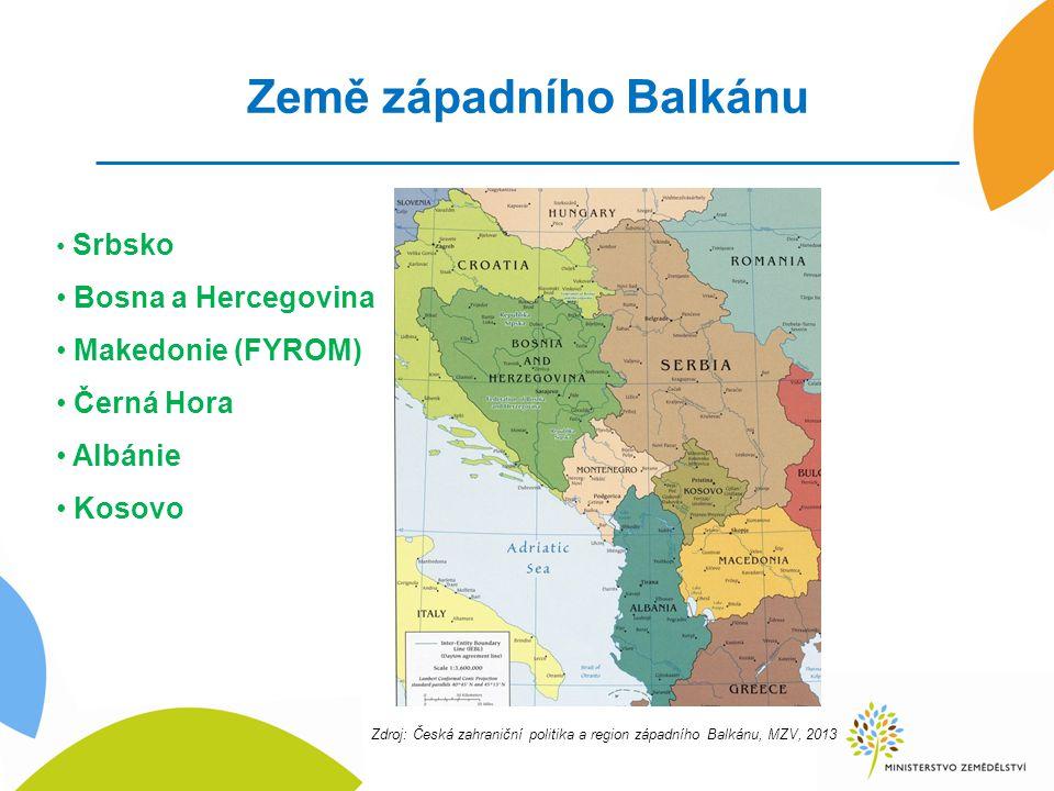 Země západního Balkánu Srbsko Bosna a Hercegovina Makedonie (FYROM) Černá Hora Albánie Kosovo Zdroj: Česká zahraniční politika a region západního Balkánu, MZV, 2013