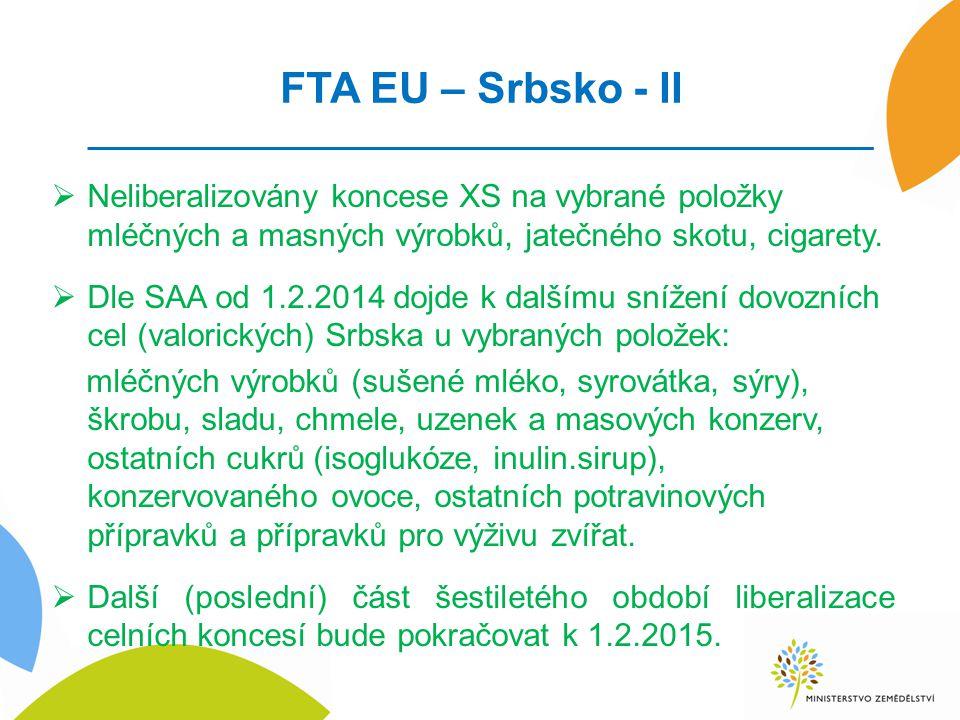 FTA EU – Srbsko - II  Neliberalizovány koncese XS na vybrané položky mléčných a masných výrobků, jatečného skotu, cigarety.