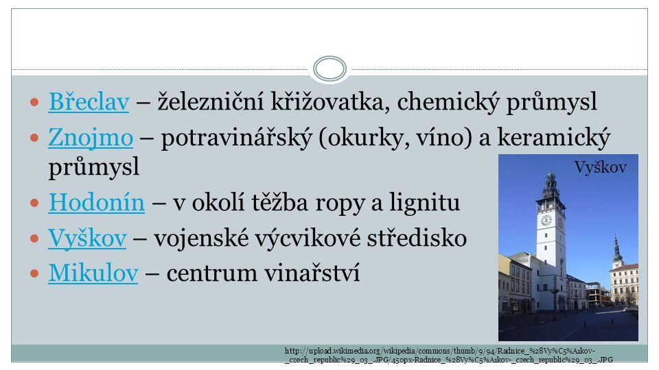 Břeclav – železniční křižovatka, chemický průmysl Břeclav Znojmo – potravinářský (okurky, víno) a keramický průmysl Znojmo Hodonín – v okolí těžba rop
