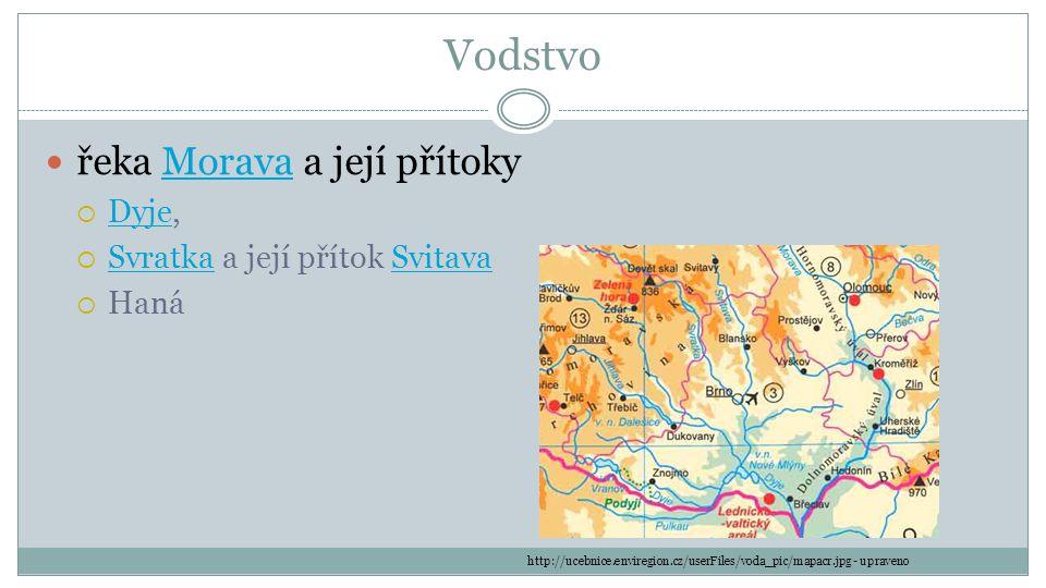 Vodstvo řeka Morava a její přítokyMorava  Dyje, Dyje  Svratka a její přítok Svitava SvratkaSvitava  Haná http://ucebnice.enviregion.cz/userFiles/vo