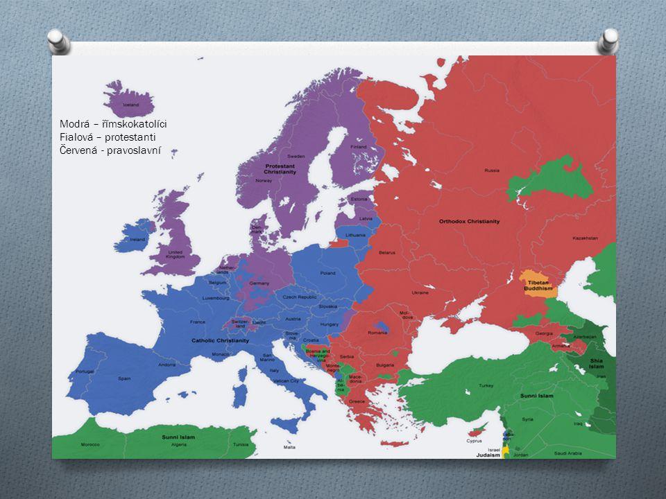 Modrá – římskokatolíci Fialová – protestanti Červená - pravoslavní