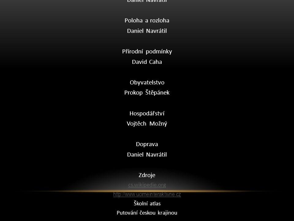 Režie a střih Daniel Navrátil Poloha a rozloha Daniel Navrátil Přírodní podmínky David Caha Obyvatelstvo Prokop Štěpánek Hospodářství Vojtěch Možný Do