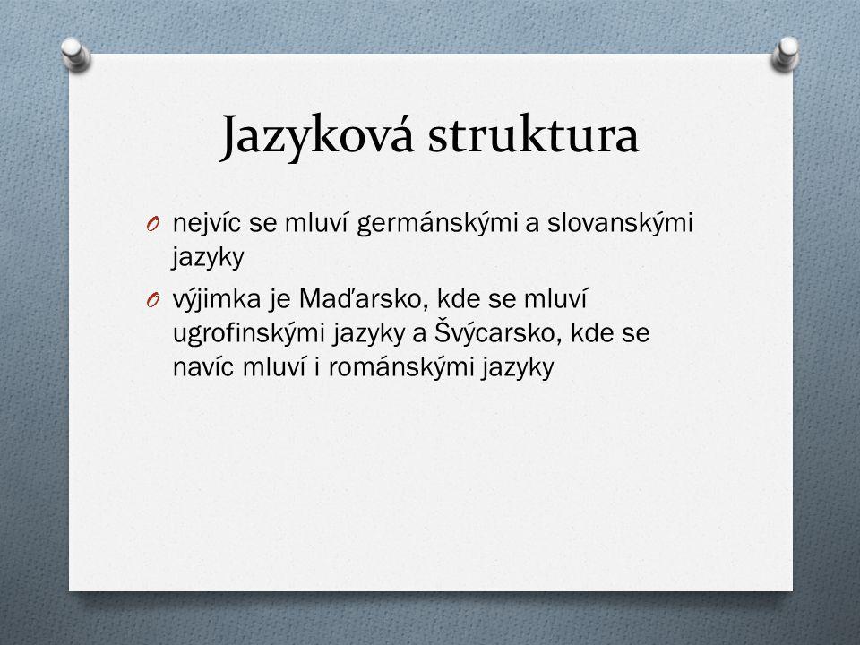 Jazyková struktura O nejvíc se mluví germánskými a slovanskými jazyky O výjimka je Maďarsko, kde se mluví ugrofinskými jazyky a Švýcarsko, kde se naví