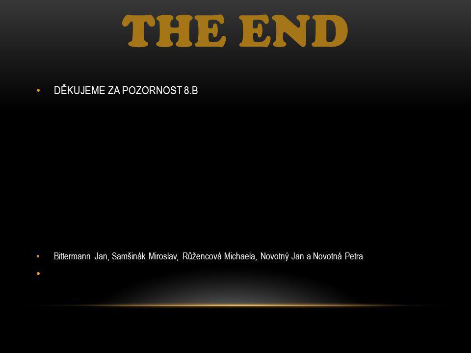 THE END DĚKUJEME ZA POZORNOST 8.B Bittermann Jan, Samšinák Miroslav, Růžencová Michaela, Novotný Jan a Novotná Petra