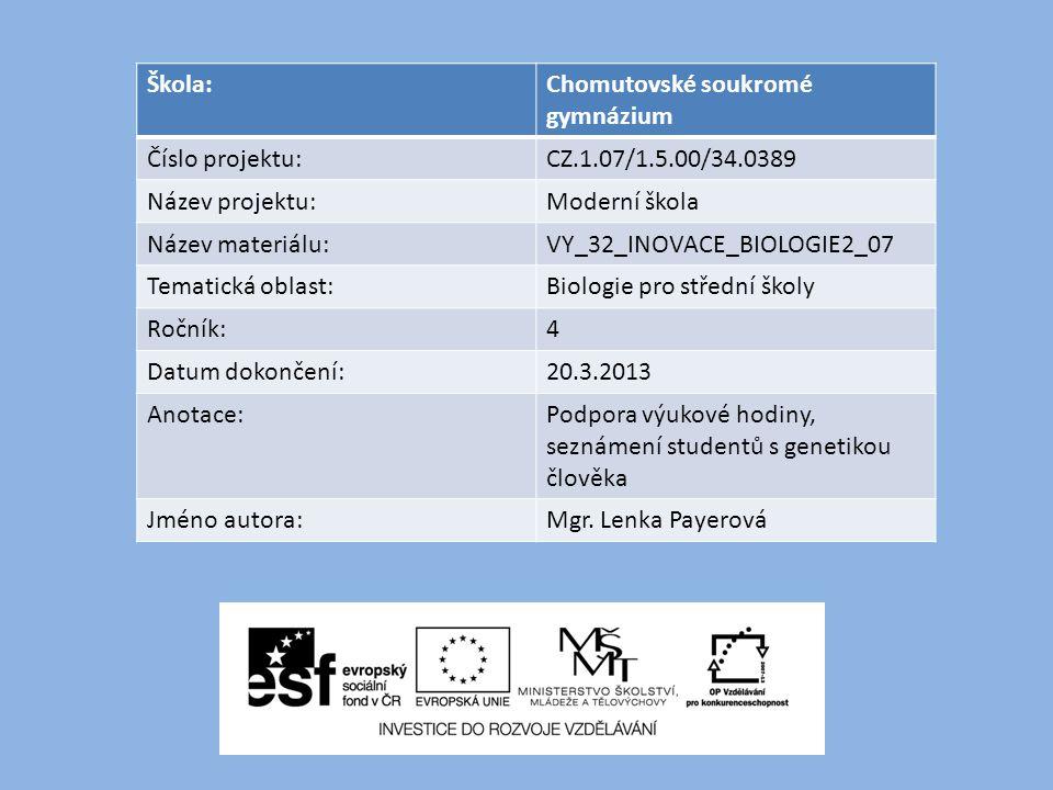 Škola:Chomutovské soukromé gymnázium Číslo projektu:CZ.1.07/1.5.00/34.0389 Název projektu:Moderní škola Název materiálu:VY_32_INOVACE_BIOLOGIE2_07 Tem