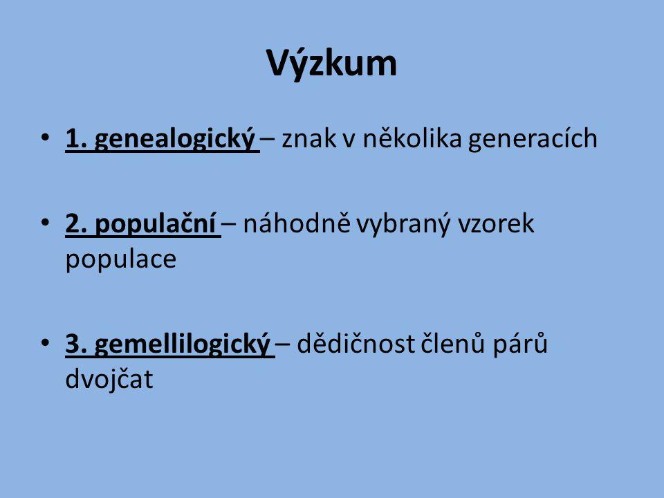 Výzkum 1. genealogický – znak v několika generacích 2. populační – náhodně vybraný vzorek populace 3. gemellilogický – dědičnost členů párů dvojčat