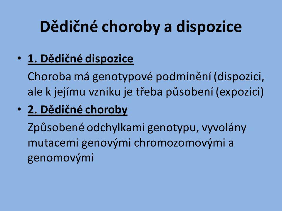Dědičné choroby a dispozice 1. Dědičné dispozice Choroba má genotypové podmínění (dispozici, ale k jejímu vzniku je třeba působení (expozici) 2. Dědič