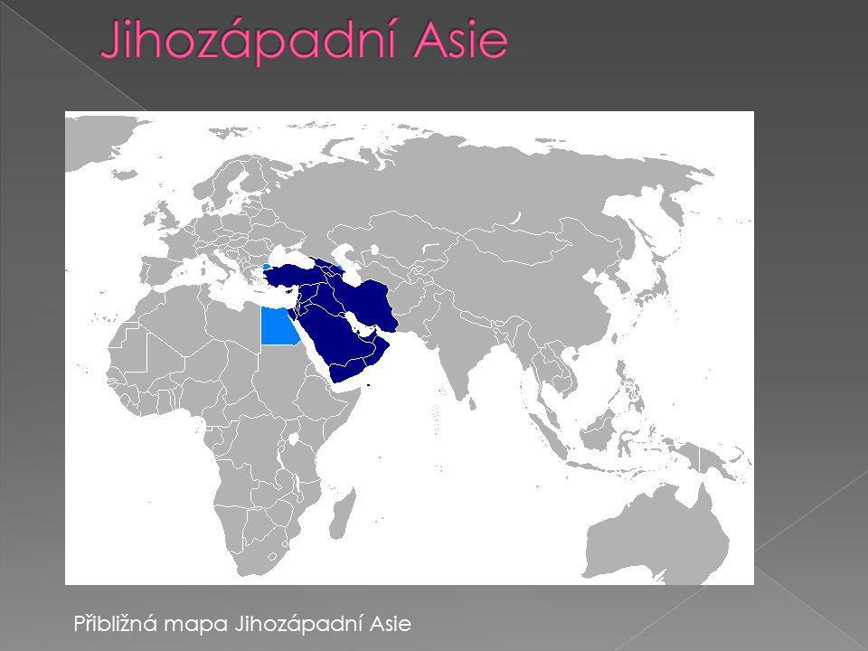 Přibližná mapa Jihozápadní Asie