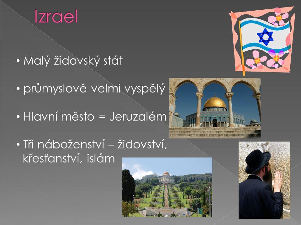 Malý židovský stát průmyslově velmi vyspělý Hlavní město = Jeruzalém Tři náboženství – židovství, křesťanství, islám