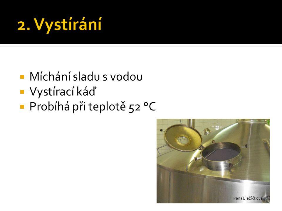  Míchání sladu s vodou  Vystírací káď  Probíhá při teplotě 52 °C Ivana Blažíčková