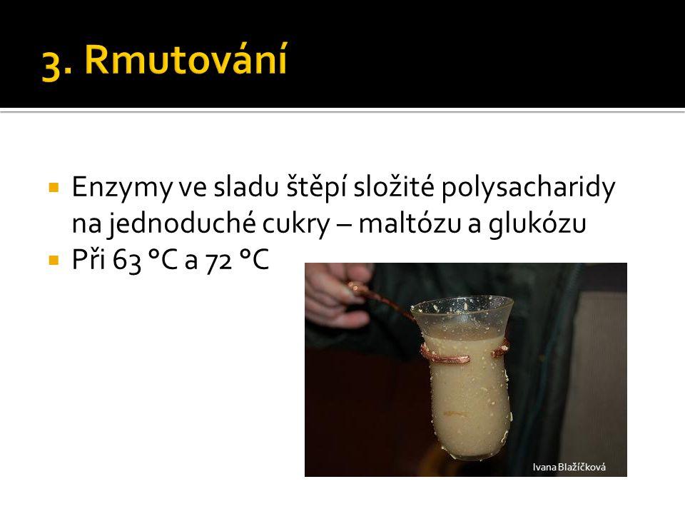  Enzymy ve sladu štěpí složité polysacharidy na jednoduché cukry – maltózu a glukózu  Při 63 °C a 72 °C Ivana Blažíčková