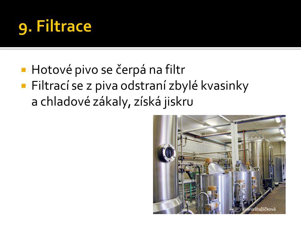  Hotové pivo se čerpá na filtr  Filtrací se z piva odstraní zbylé kvasinky a chladové zákaly, získá jiskru Ivana Blažíčková