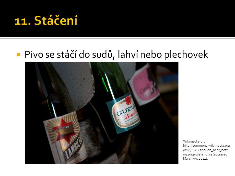  Pivo se stáčí do sudů, lahví nebo plechovek Wikimedia.org. http://commons.wikimedia.org /wiki/File:Cantillon_beer_bottli ng.png?uselang=cs (accessed