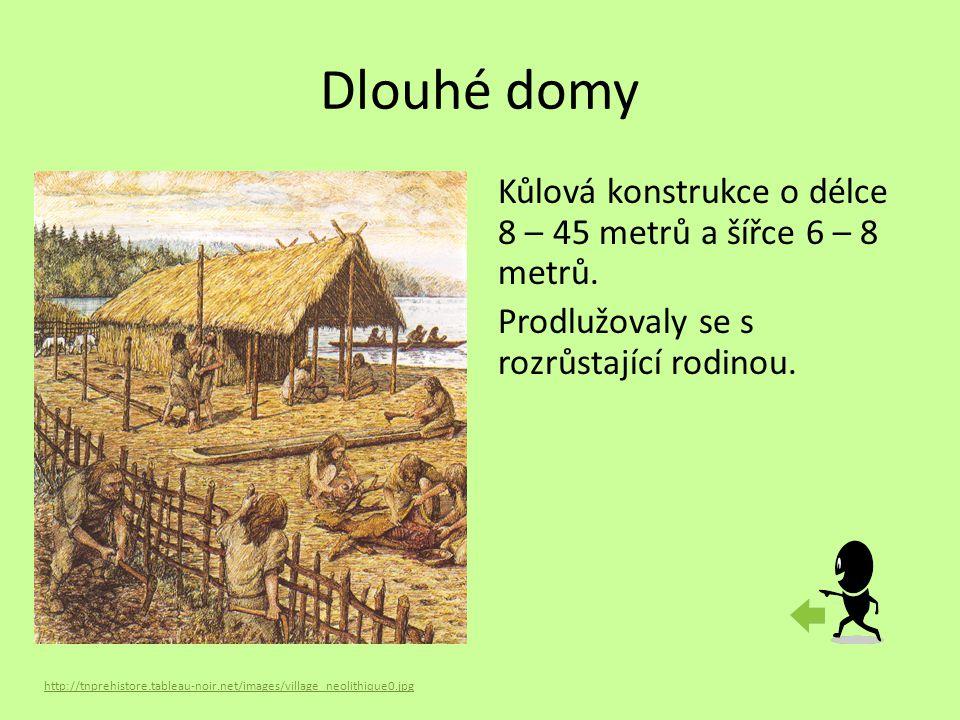 Dlouhé domy http://tnprehistore.tableau-noir.net/images/village_neolithique0.jpg Kůlová konstrukce o délce 8 – 45 metrů a šířce 6 – 8 metrů. Prodlužov