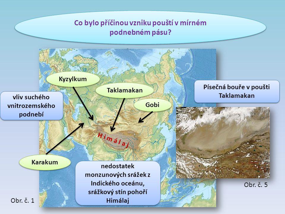 Co bylo příčinou vzniku pouští v mírném podnebném pásu? Gobi Taklamakan Kyzylkum Karakum H i m á l a j vliv suchého vnitrozemského podnebí nedostatek