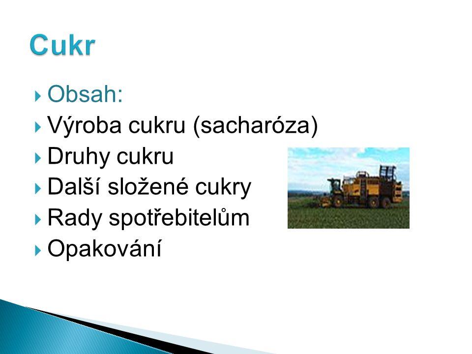  Obsah:  Výroba cukru (sacharóza)  Druhy cukru  Další složené cukry  Rady spotřebitelům  Opakování