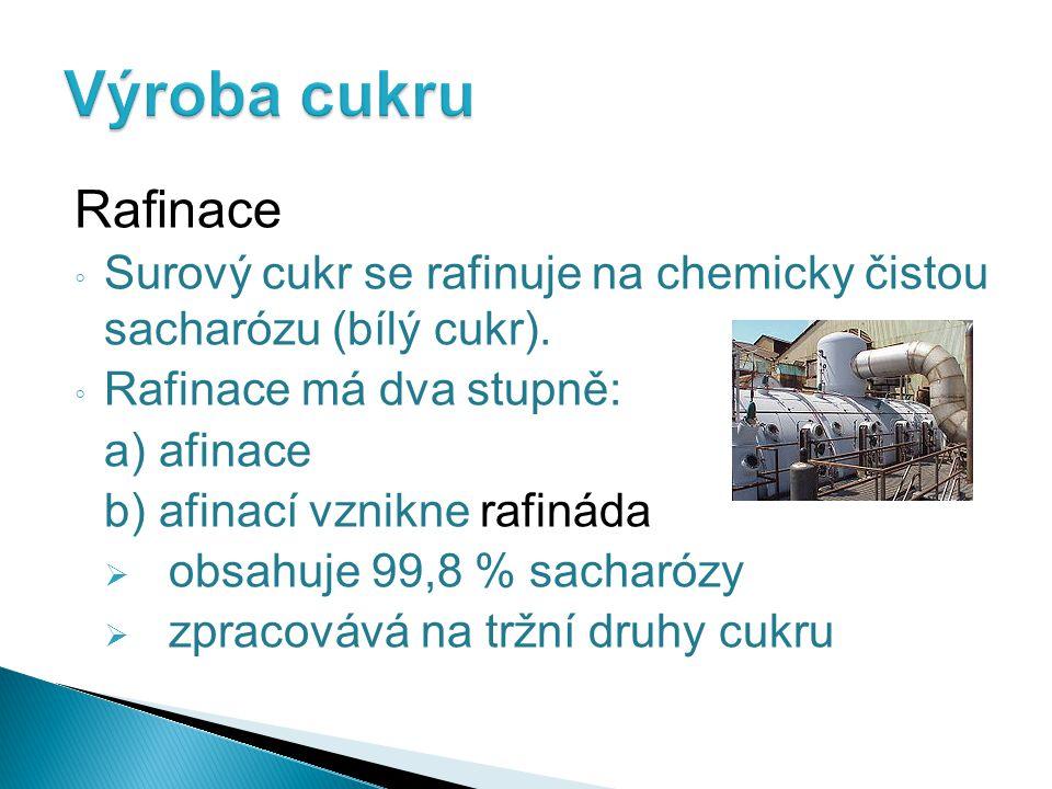 Rafinace ◦ Surový cukr se rafinuje na chemicky čistou sacharózu (bílý cukr). ◦ Rafinace má dva stupně: a) afinace b) afinací vznikne rafináda  obsahu