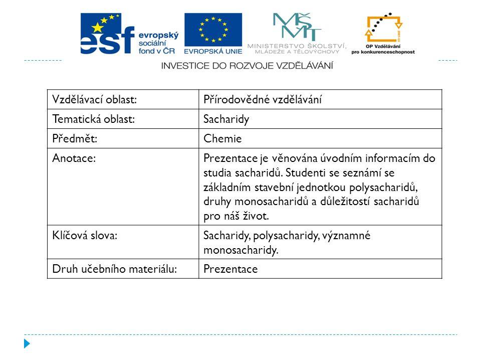 Vzdělávací oblast:Přírodovědné vzdělávání Tematická oblast:Sacharidy Předmět:Chemie Anotace:Prezentace je věnována úvodním informacím do studia sachar