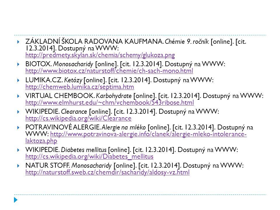  ZÁKLADNÍ ŠKOLA RADOVANA KAUFMANA. Chémie 9. ročník [online]. [cit. 12.3.2014]. Dostupný na WWW: http://predmety.skylan.sk/chemia/schemy/glukoza.png