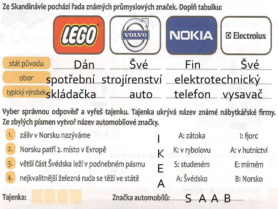 DánŠvéFinŠvé spotřebnístrojírenství elektrotechnický skládačkaauto telefon vysavač I K E A S A A B