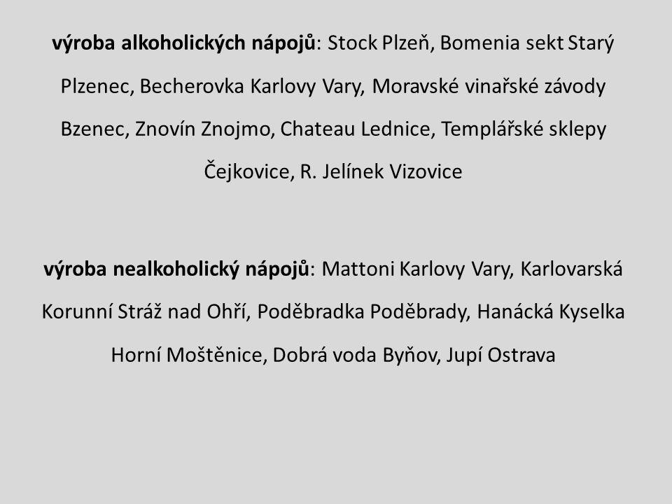 výroba alkoholických nápojů: Stock Plzeň, Bomenia sekt Starý Plzenec, Becherovka Karlovy Vary, Moravské vinařské závody Bzenec, Znovín Znojmo, Chateau