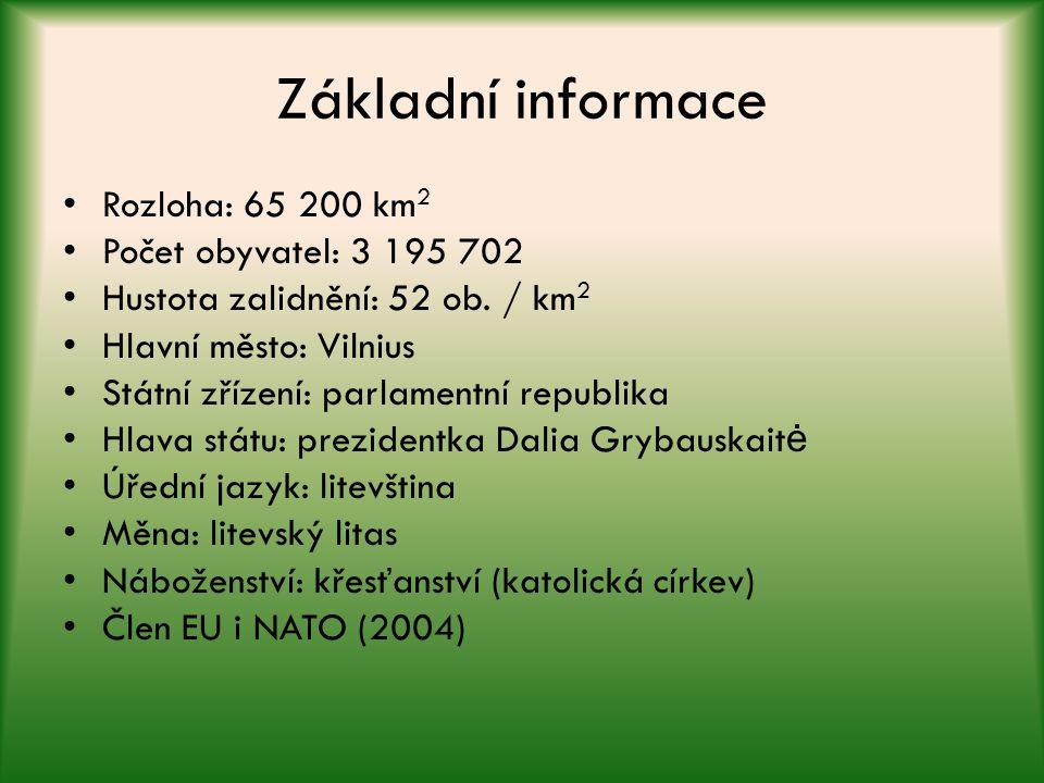 Základní informace Rozloha: 65 200 km 2 Počet obyvatel: 3 195 702 Hustota zalidnění: 52 ob. / km 2 Hlavní město: Vilnius Státní zřízení: parlamentní r