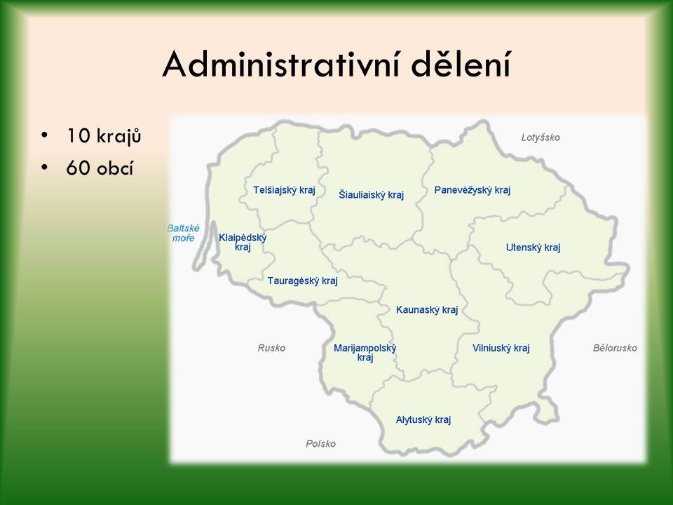 Administrativní dělení 10 krajů 60 obcí