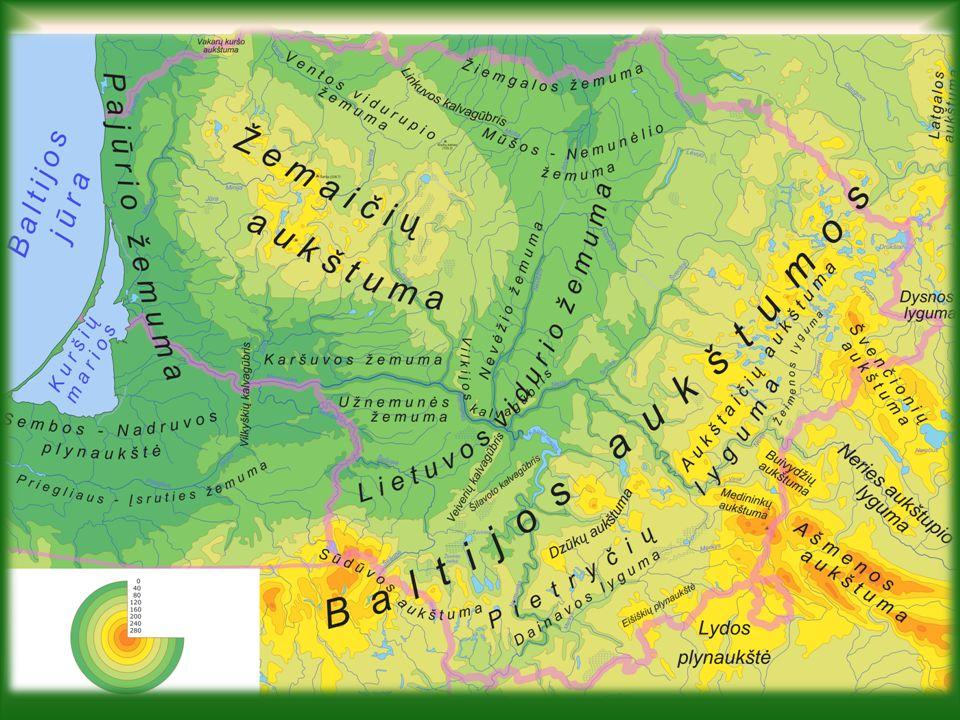 Geografie Litvy Mírný pás na přechodu oceánského a kontinentálního klimatu Povrch – vesměs rovinatý a nížinatý (Litevská nížina), východ a západ země