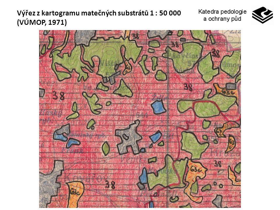 Výřez z kartogramu matečných substrátů 1 : 50 000 (VÚMOP, 1971)
