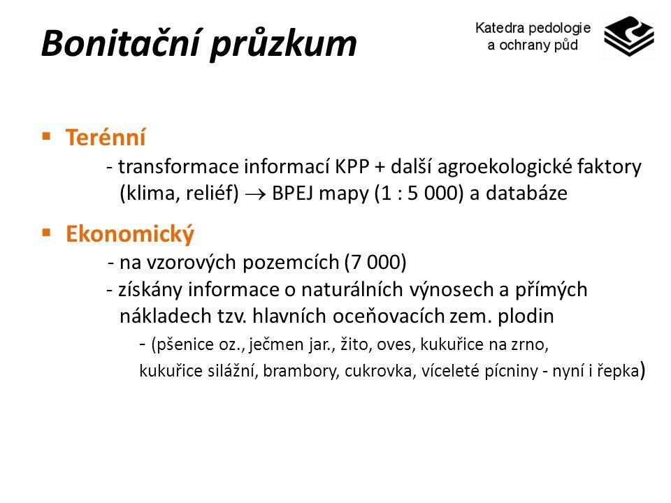 Bonitační průzkum  Terénní - transformace informací KPP + další agroekologické faktory (klima, reliéf)  BPEJ mapy (1 : 5 000) a databáze  Ekonomick