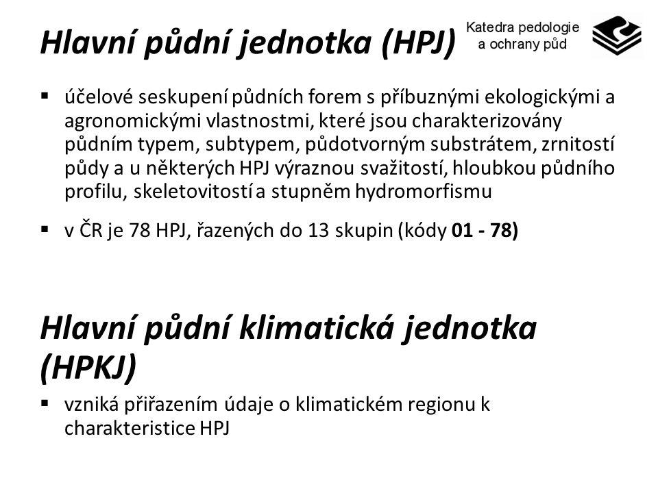 Hlavní půdní jednotka (HPJ)  účelové seskupení půdních forem s příbuznými ekologickými a agronomickými vlastnostmi, které jsou charakterizovány půdní