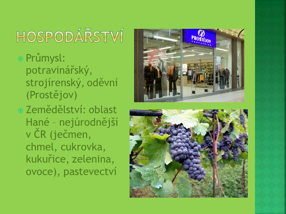  Průmysl: potravinářský, strojírenský, oděvní (Prostějov)  Zemědělství: oblast Hané – nejúrodnější v ČR (ječmen, chmel, cukrovka, kukuřice, zelenina
