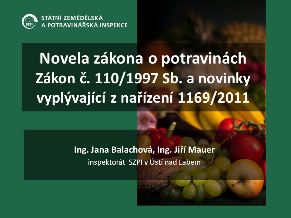 Novela zákona o potravinách Zákon č. 110/1997 Sb. a novinky vyplývající z nařízení 1169/2011 Ing. Jana Balachová, Ing. Jiří Mauer inspektorát SZPI v Ú