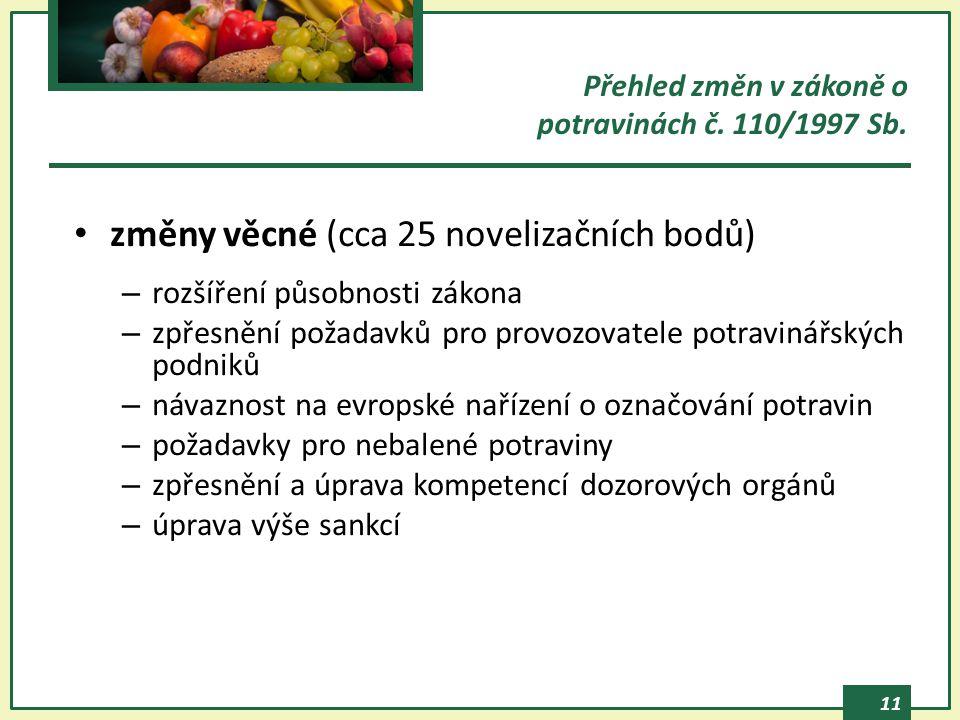 11 Přehled změn v zákoně o potravinách č. 110/1997 Sb. změny věcné (cca 25 novelizačních bodů) – rozšíření působnosti zákona – zpřesnění požadavků pro