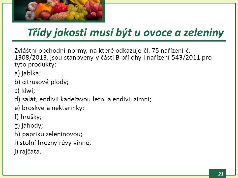21 Zvláštní obchodní normy, na které odkazuje čl.75 nařízení č.