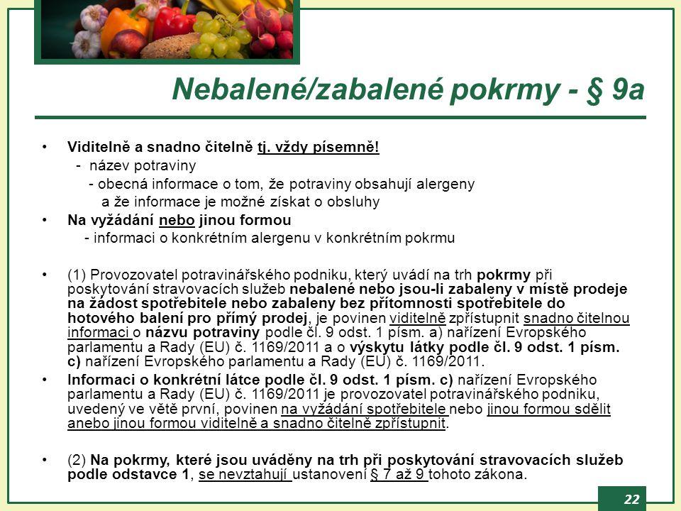 22 Nebalené/zabalené pokrmy - § 9a Viditelně a snadno čitelně tj. vždy písemně! - název potraviny - obecná informace o tom, že potraviny obsahují aler