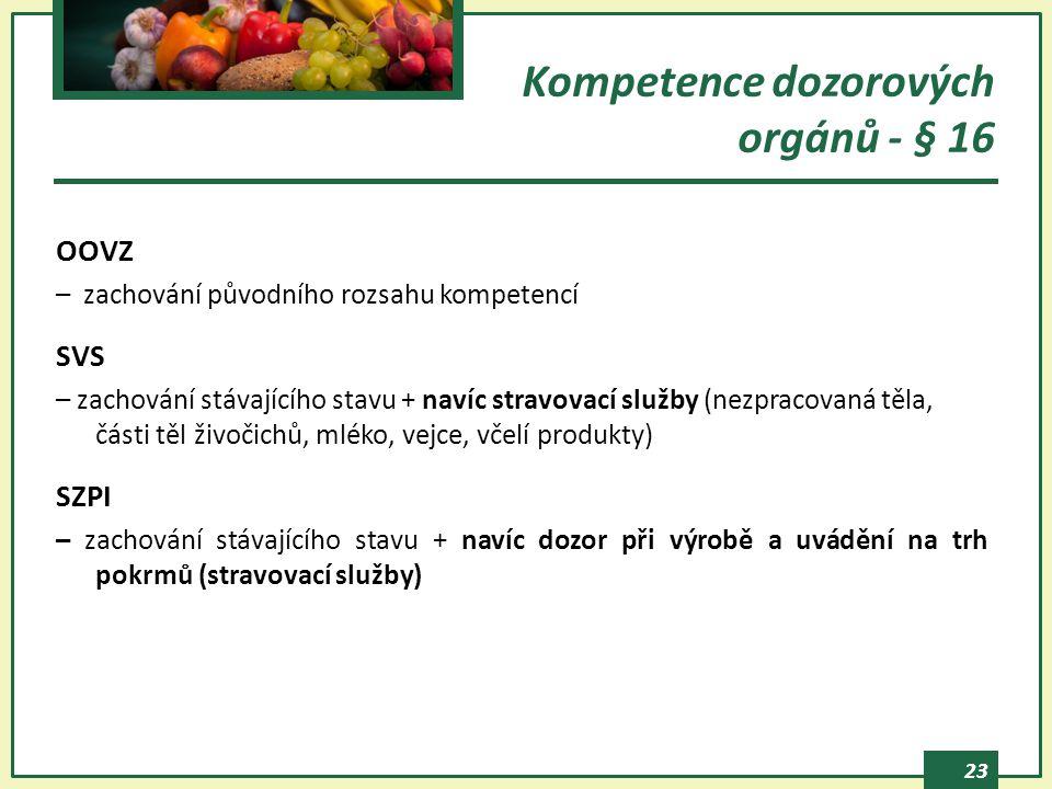 23 Kompetence dozorových orgánů - § 16 OOVZ – zachování původního rozsahu kompetencí SVS – zachování stávajícího stavu + navíc stravovací služby (nezpracovaná těla, části těl živočichů, mléko, vejce, včelí produkty) SZPI – zachování stávajícího stavu + navíc dozor při výrobě a uvádění na trh pokrmů (stravovací služby)