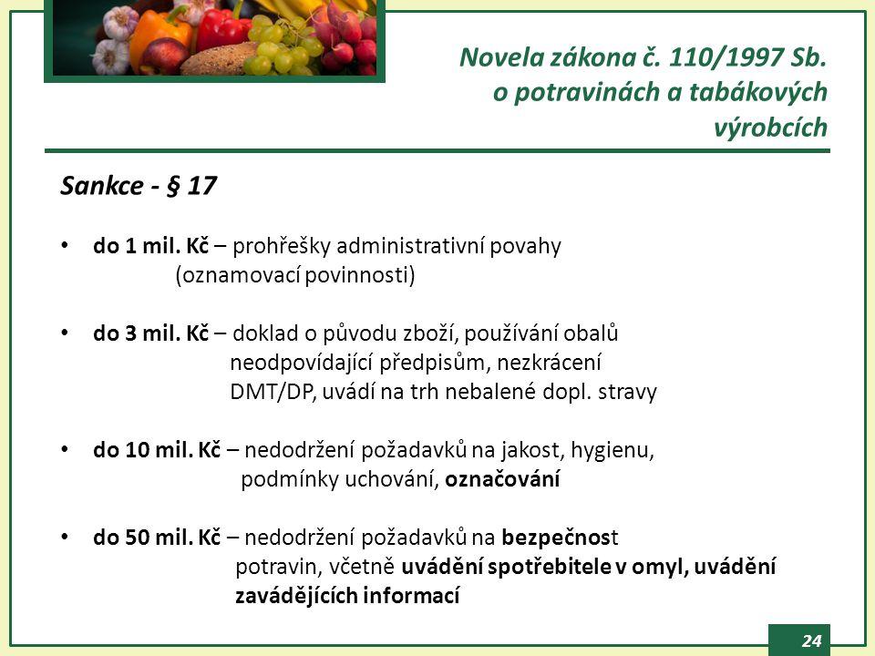 24 Novela zákona č. 110/1997 Sb. o potravinách a tabákových výrobcích Sankce - § 17 do 1 mil. Kč – prohřešky administrativní povahy (oznamovací povinn