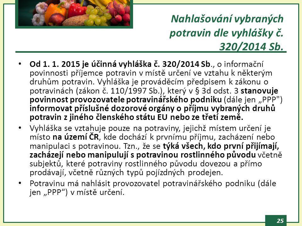 25 Od 1. 1. 2015 je účinná vyhláška č. 320/2014 Sb., o informační povinnosti příjemce potravin v místě určení ve vztahu k některým druhům potravin. Vy
