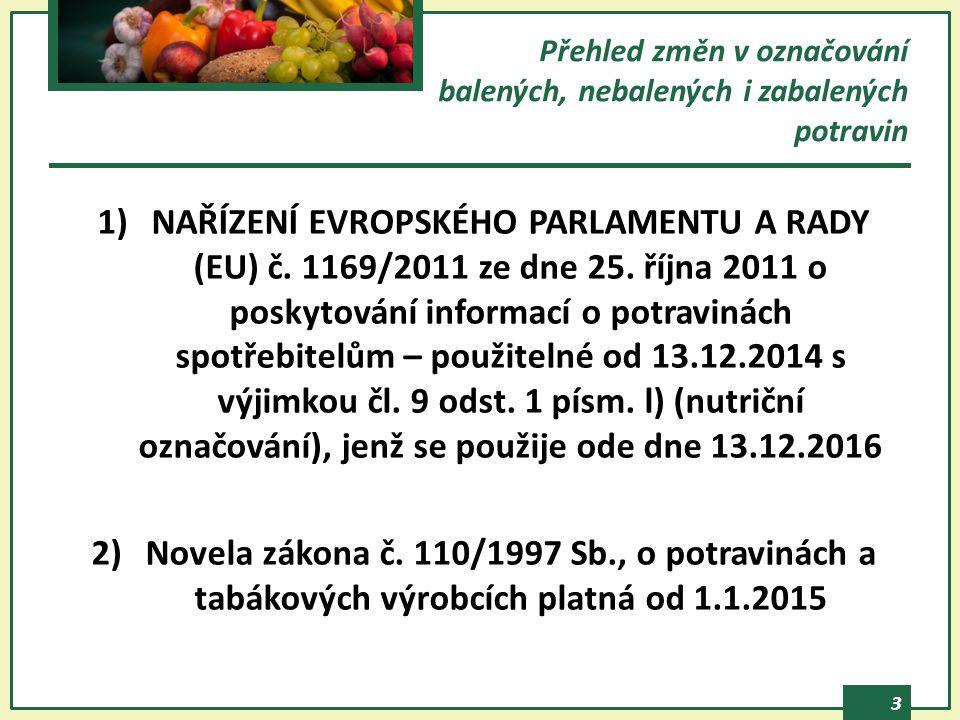 3 Přehled změn v označování balených, nebalených i zabalených potravin 1)NAŘÍZENÍ EVROPSKÉHO PARLAMENTU A RADY (EU) č. 1169/2011 ze dne 25. října 2011