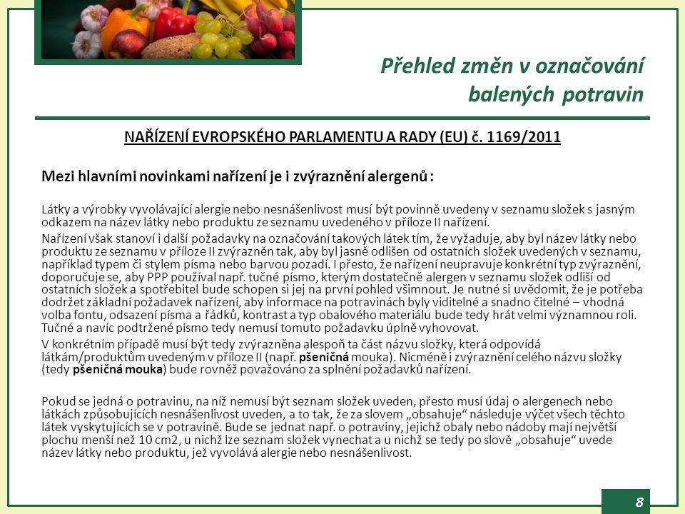 8 NAŘÍZENÍ EVROPSKÉHO PARLAMENTU A RADY (EU) č. 1169/2011 Mezi hlavními novinkami nařízení je i zvýraznění alergenů : Látky a výrobky vyvolávající ale