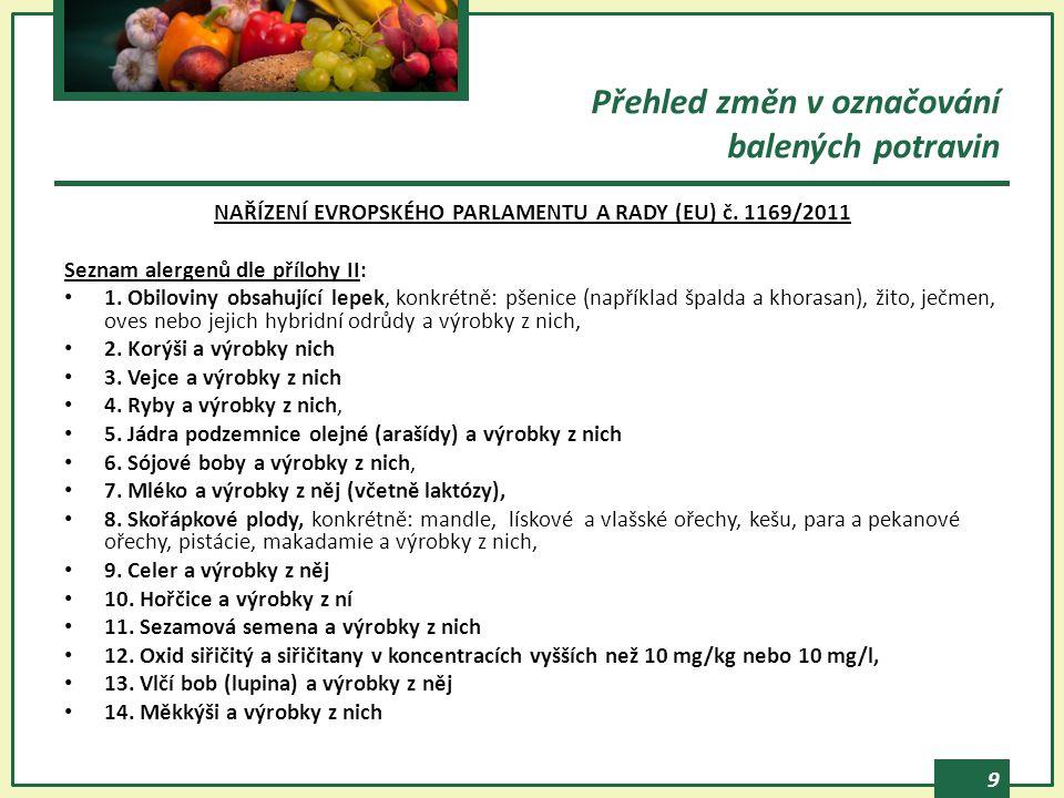 9 NAŘÍZENÍ EVROPSKÉHO PARLAMENTU A RADY (EU) č. 1169/2011 Seznam alergenů dle přílohy II: 1. Obiloviny obsahující lepek, konkrétně: pšenice (například